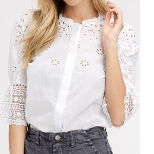 Embroidered Cotton Eyelet Button Up Top